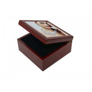 Caja de recuerdo de madera marrón 4″x4″