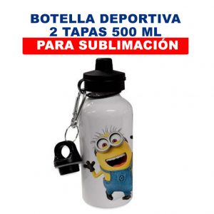 Botella Deportiva 2 Tapas 500 ml para sublimación